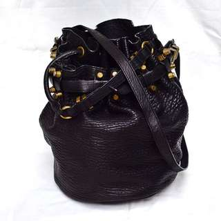 Real Leather Studded Bucket Bag
