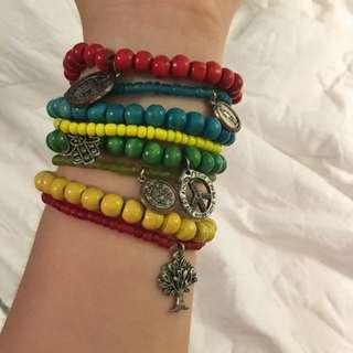 8 Beaded Bracelets With Charms