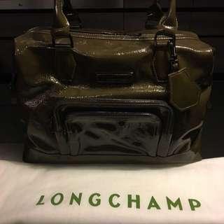 🚚 Longchamp 漆皮綠保齡球包