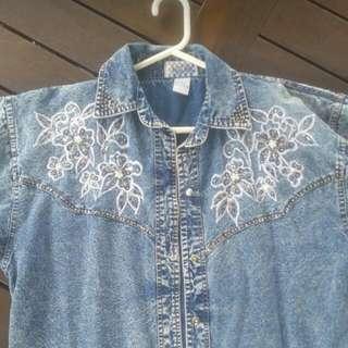 Vintage Sequin Denim Shirt Size M
