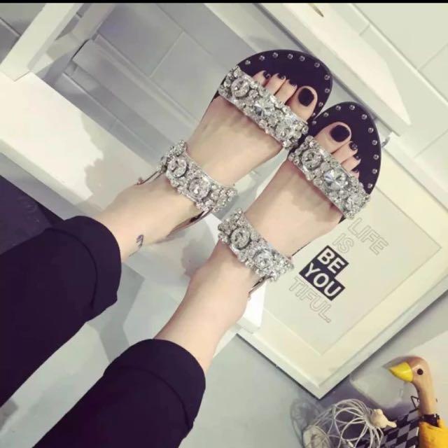 2016平底水晶亮钻凉鞋防滑耐磨牛筋底凉拖凉鞋女鞋单鞋女夏