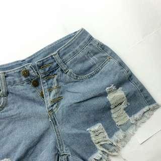 全新✨排釦高腰牛仔短褲#兩百元短褲