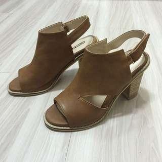 正韓 日雜款 側簍空高跟魚口涼鞋 24.5