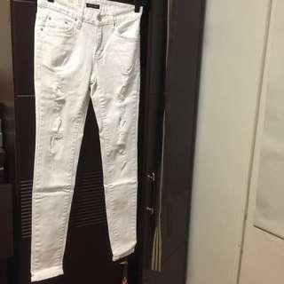 合身韓版白色破褲