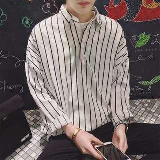 韓國落肩套頭條紋襯衫