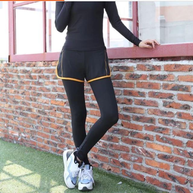 保留中「全新免運」假兩件 運動褲 跑步褲 慢跑褲 瑜珈褲 有氧褲 速乾褲