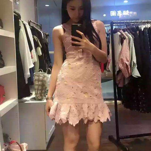 歐美蕾絲魚尾洋裝 S全新