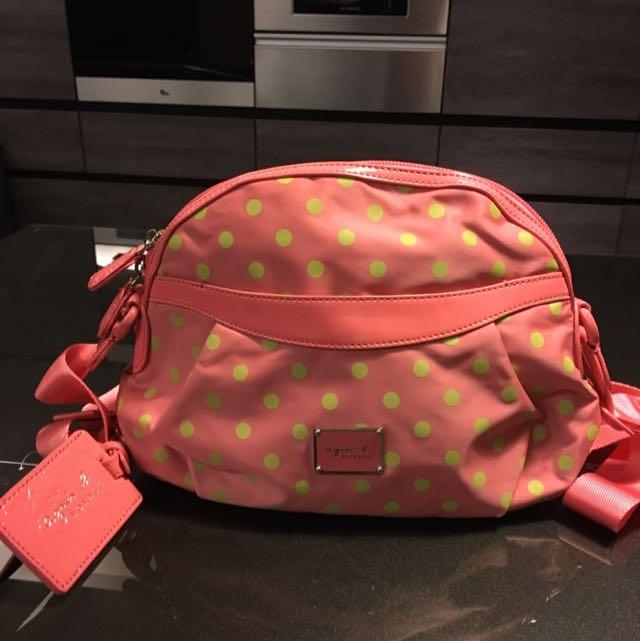 Agnes'b 粉紅色點點斜背包