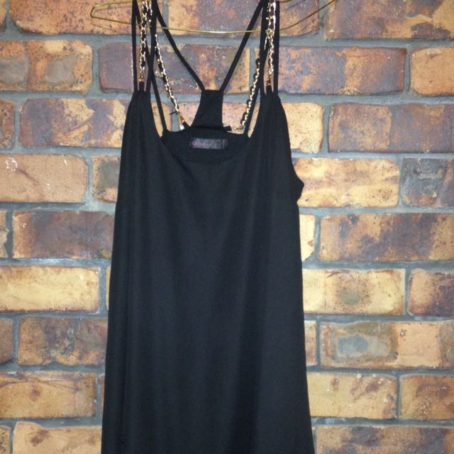 Black and Gold Strap Dress