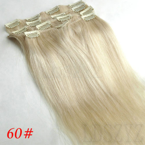 Clip in real Remy 100% human hair human hair extensions 70g 20inch Lightest Blonde