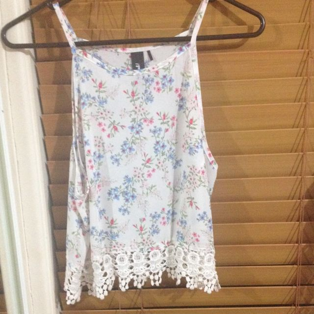 Floral Chiffon Halter With Lace Bottom