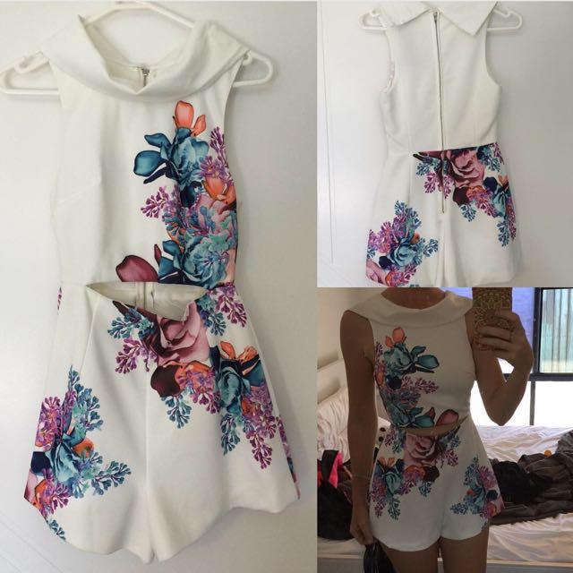 Floral White Jumpsuit / playsuit Size 6