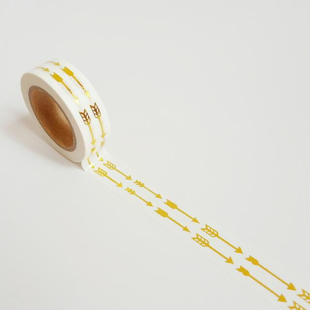 Gold Foil Arrow Washi Tape Roll