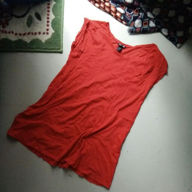 H&M Basic Orange Red Sleeveless Dress