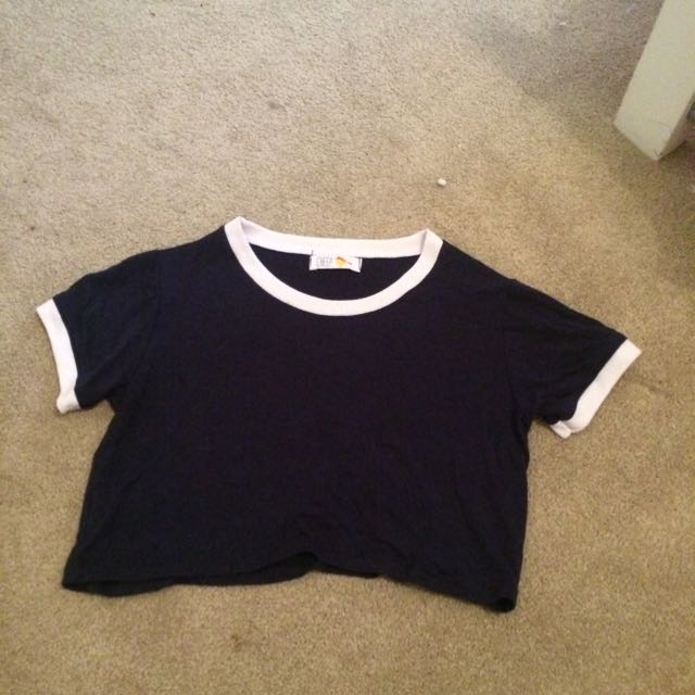 Navy Blue With White Trimming Crop Top
