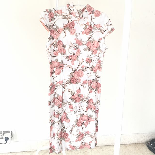 New Cheongsam Dress Pink Floral