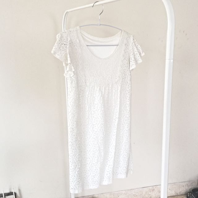 Preloved White Crochet Dress