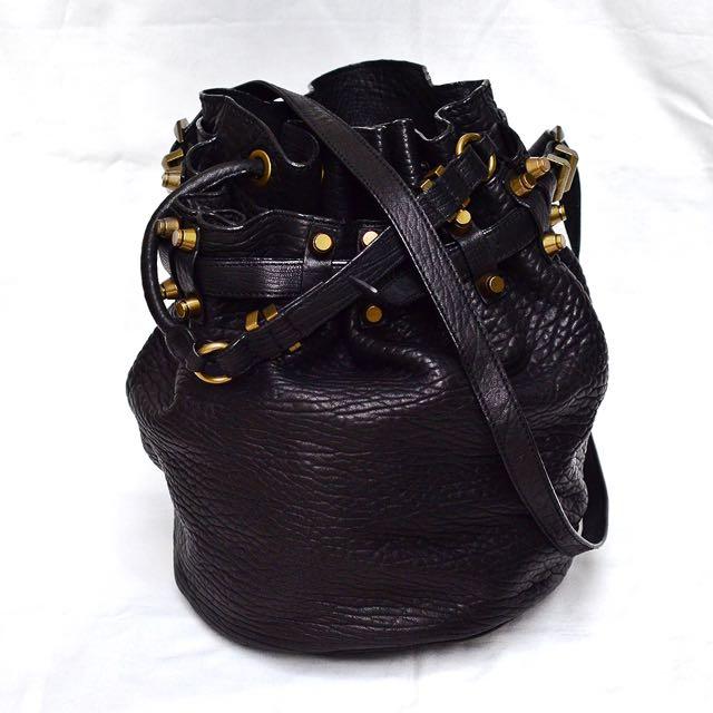 Real Leather Studded Bucket Bag
