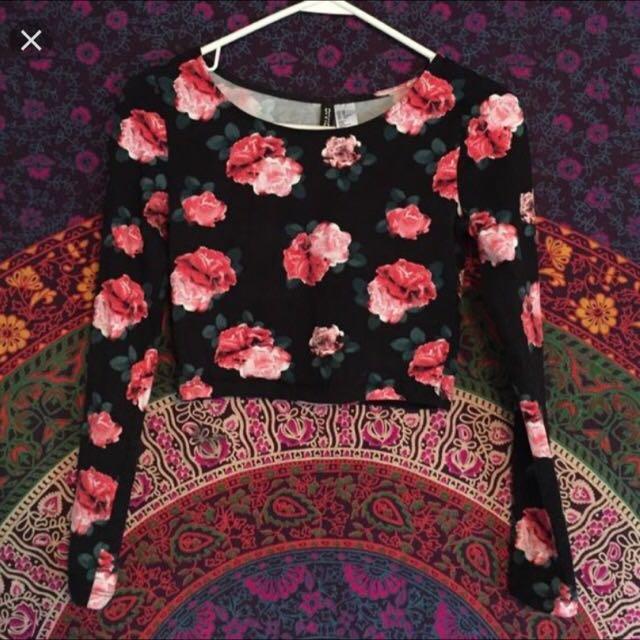 Shoulderless Rose Crop Top