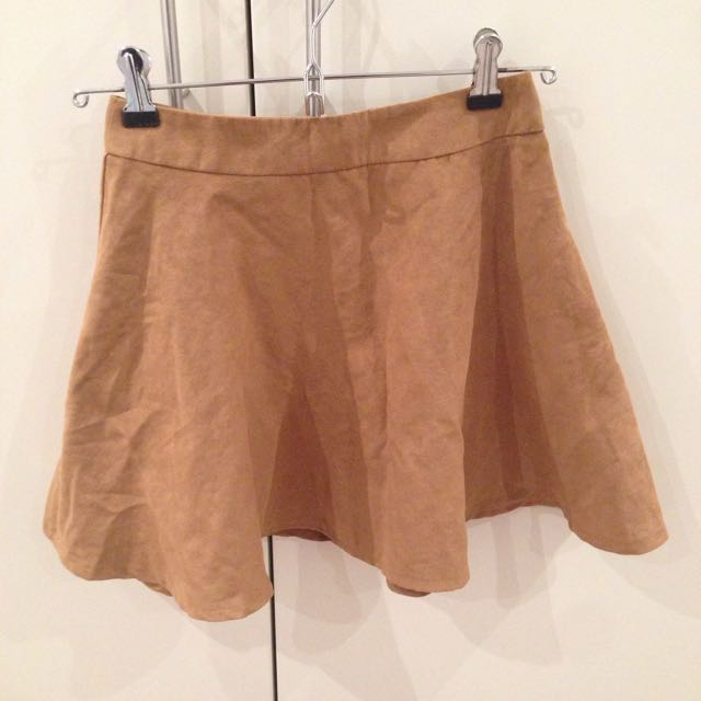 Mini Skater Skirt Faux Suede Size XS
