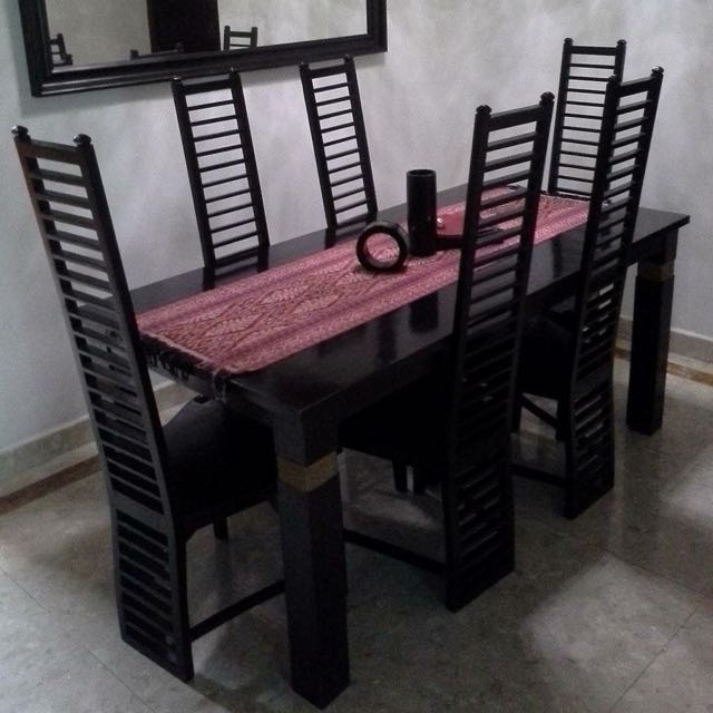 Solid Teakwood Dining Table/6 Chairs