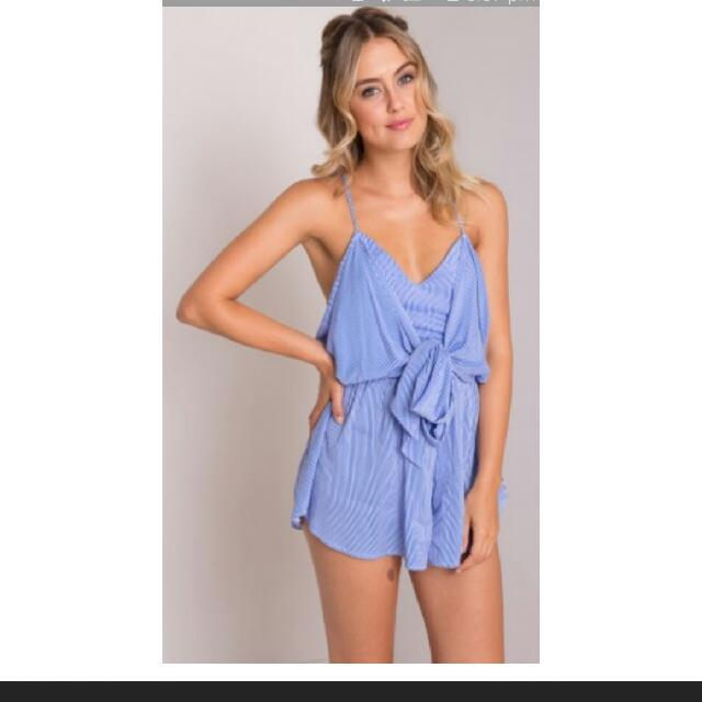 Street Heart Blue And White Stripped Playsuit