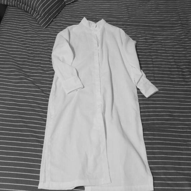 ⚡VIESO 立領白色長版襯衫外套