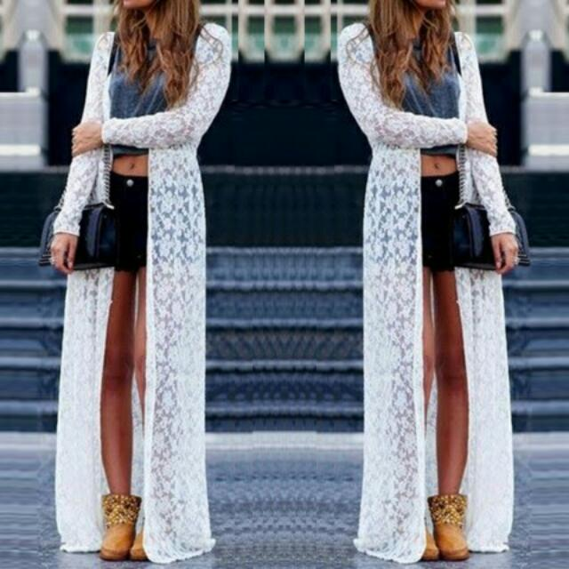 Women Lace Floral White Long Maxi Dress Boho Cardigan Jacket Coat ...