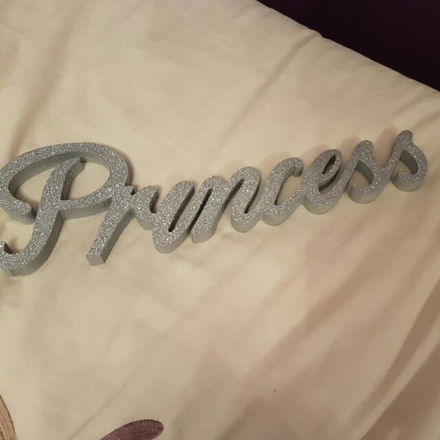 word princess in wood and glitter