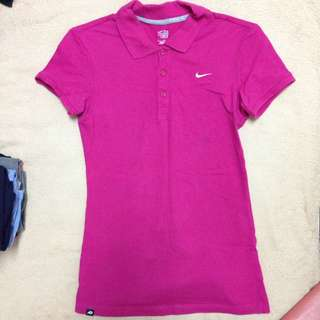 Nike 桃紅色polo衫