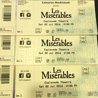 3 Les Miserables Tickets - RESERVED