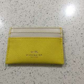 Coach Yellow Chalk Multi Compartment Card Holder