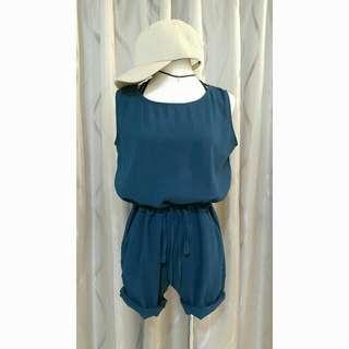 ✨新品上市》雪紡後V綁帶連身褲(藍綠,粉)
