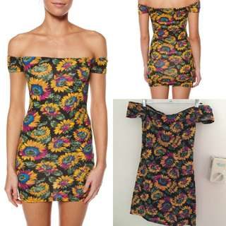 Mink Pink Sunflower Print Dress