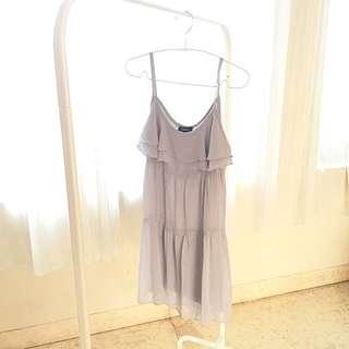 Preloved Light Grey Mini Dress With Ruffles Detail