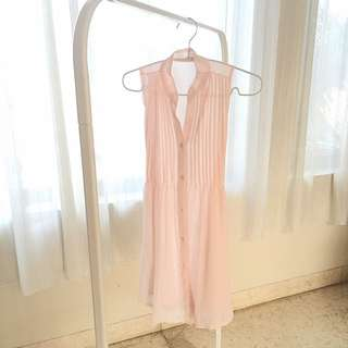 Preloved Sleeveless Pale Pink Tunic Top