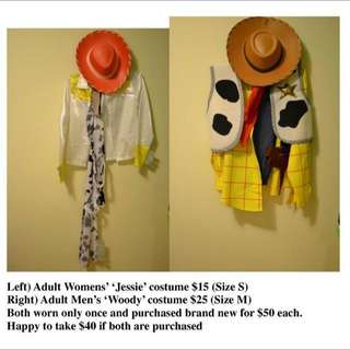 Jessie & Woody costumes (sold ppu)