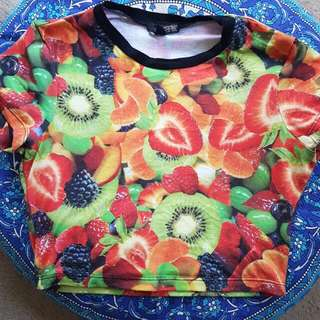 M - Printed Fruit Crop Top Short Sleeved Shop 24hrs