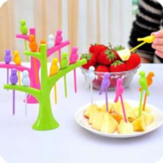IN STOCK : Bird Fruit Snack Dessert Forks+ Tree Shape Holder