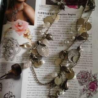 Mango 波希米亞風古項鍊 硬幣水晶 仿舊復古項鍊 Nicole