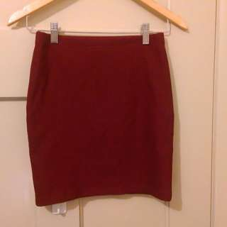 Forever 21 burgundy mini pencil skirt