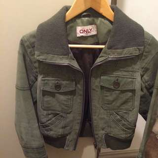 'only' Green Leather Jacket