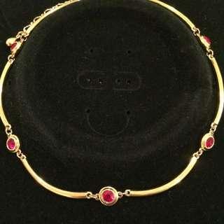 Red Diamanté Necklace Gold Tone
