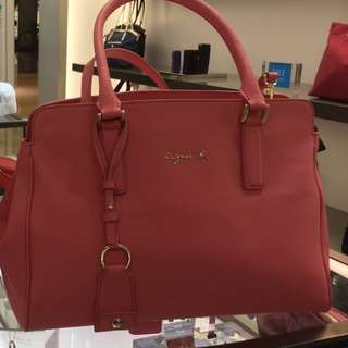 Agnes B salmon pink leather bag
