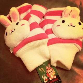 兔兔造型手套/手掌套(可露出手指)
