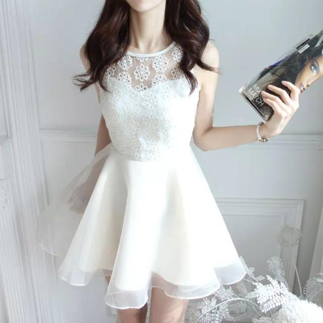 全新韓國夢幻洋裝必備白色 M 賠本出售