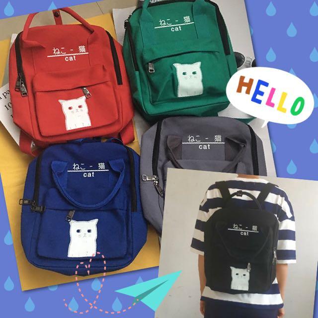 預購)夜光貓咪日文手提雙肩後背包