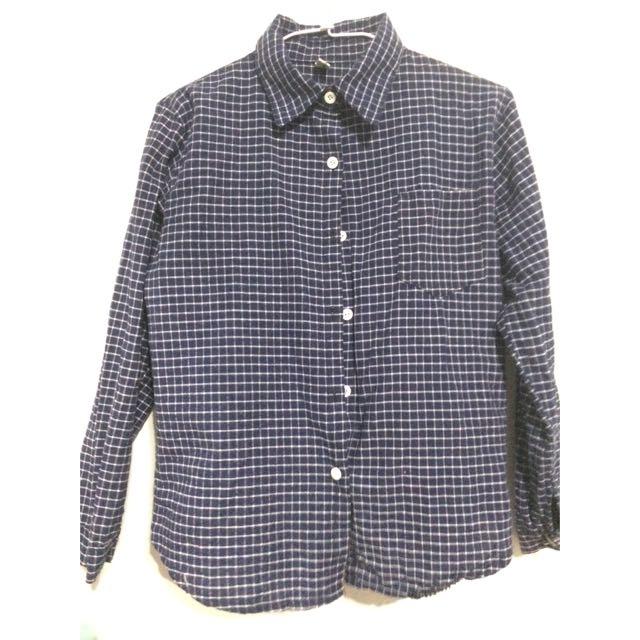 襯衫 藍色格紋襯衫