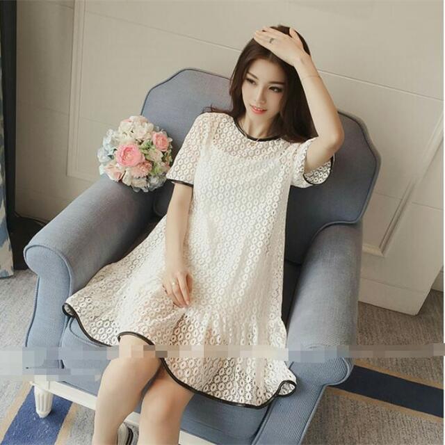AFSS6173大尺碼女裝 連衣裙(白色)