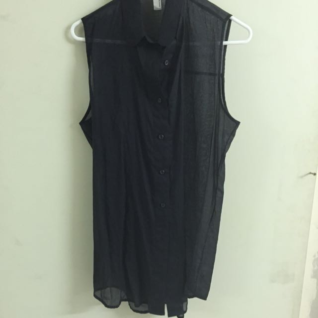 American Apparel Black Button Up Top